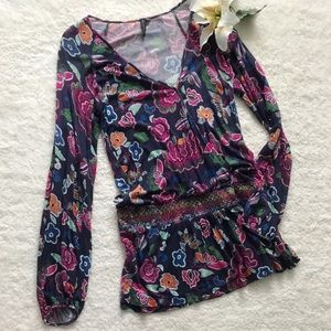 One September Floral Drop Waist Tunic Top Blouse